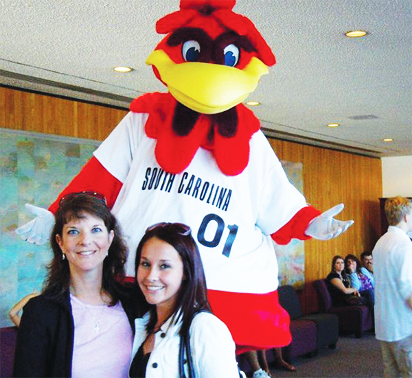 Hilary and her mother enjoyed meeting Cocky during their campus tour. Hilary became a Gamecock that same day.