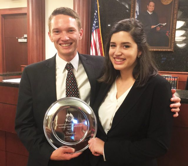 Second-year students Colin Spangler and Clair Hollingsworth celebrate their victory at the 2016 TYLA regional competition.